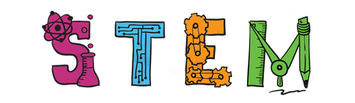 STEM logo  Each letter in stem us created by science images (glass, dna string, gears, rules, pencils, etc).