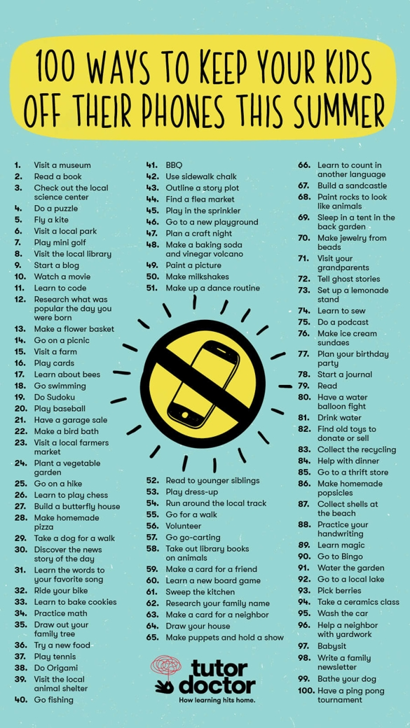 100 ways to keep your kids off their phones this summer infographic