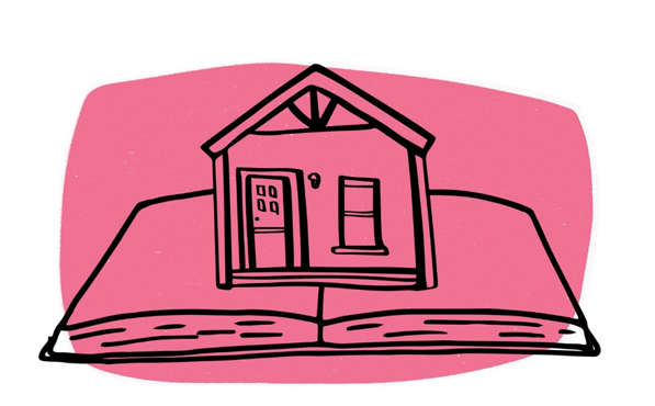 home on top of an open book cartoon for Tutor Doctor