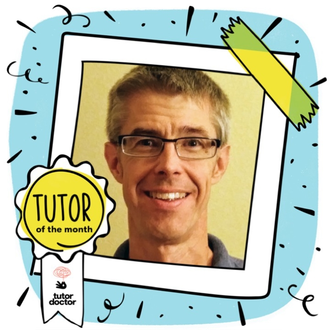 Redding Tutor of the Month Dan Peterson  Tutor of the month image border with Tutor of the Month badge. Image of Dan Peterson in the center of the decorative border. This image is a cartoon Polaroid border