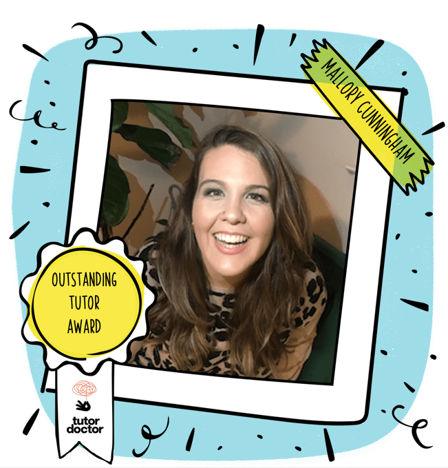Tutor of the month image border with Tutor of the Month badge. Image of Mallory  Cunningham in the center of the decorative border. This image is a cartoon Polaroid border