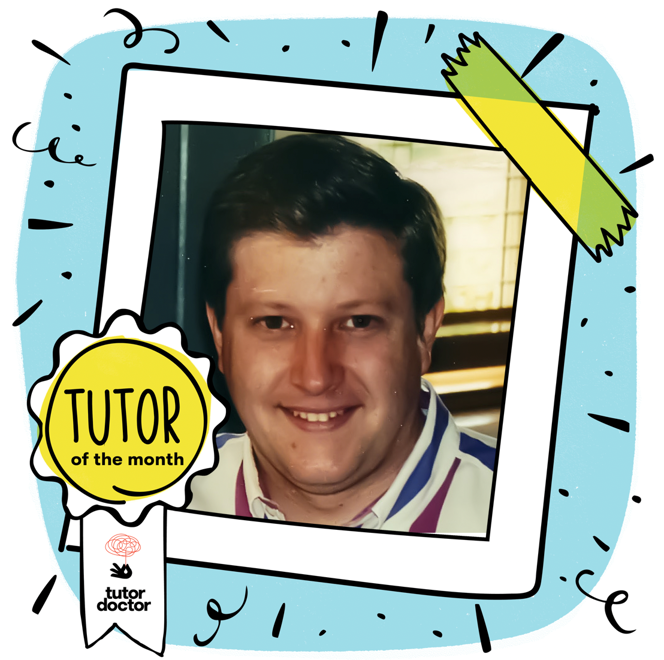 Tutor of the month image border with Tutor of the Month badge. Image of John Arnold in the center of the decorative border. This image is a cartoon Polaroid border