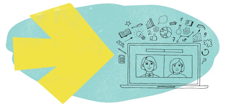 Tutor Doctor branded online tutoring image with sketch of two people on laptop for virtual learning