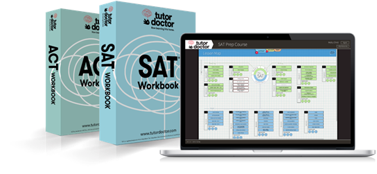 Tutor Doctor SAT and ACT Workbook  image of hard copy workbook and laptop displaying the Tutor Doctor SAT and ACT workbook website