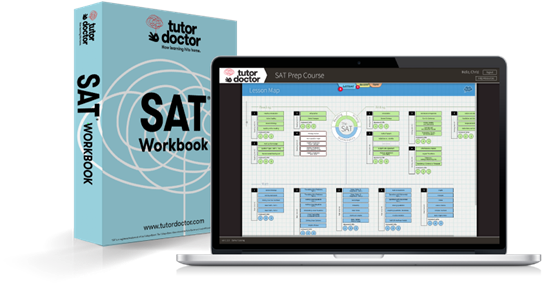 SAT book and laptop image