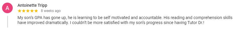 A screenshot of a five-star review for Tutor Doctor Albuquerque