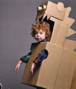 Kid in Dinosaur Box Costume