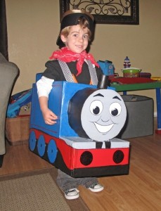 Boy in Thomas the Tank Engine Costume