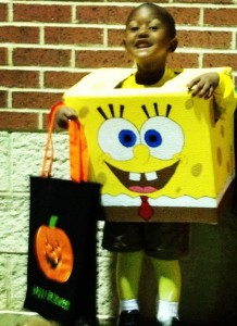 Boy in Spongebob Squarepants Box Costume